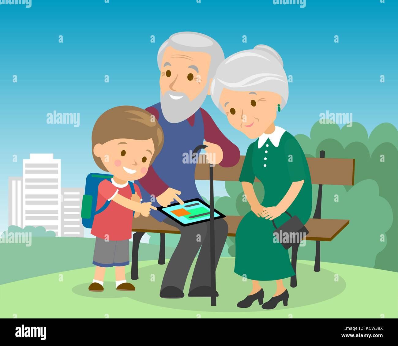 Grandson boy teach grandparents use tablet pc. Seniors elderly learning education modern technology internet computer - Stock Vector