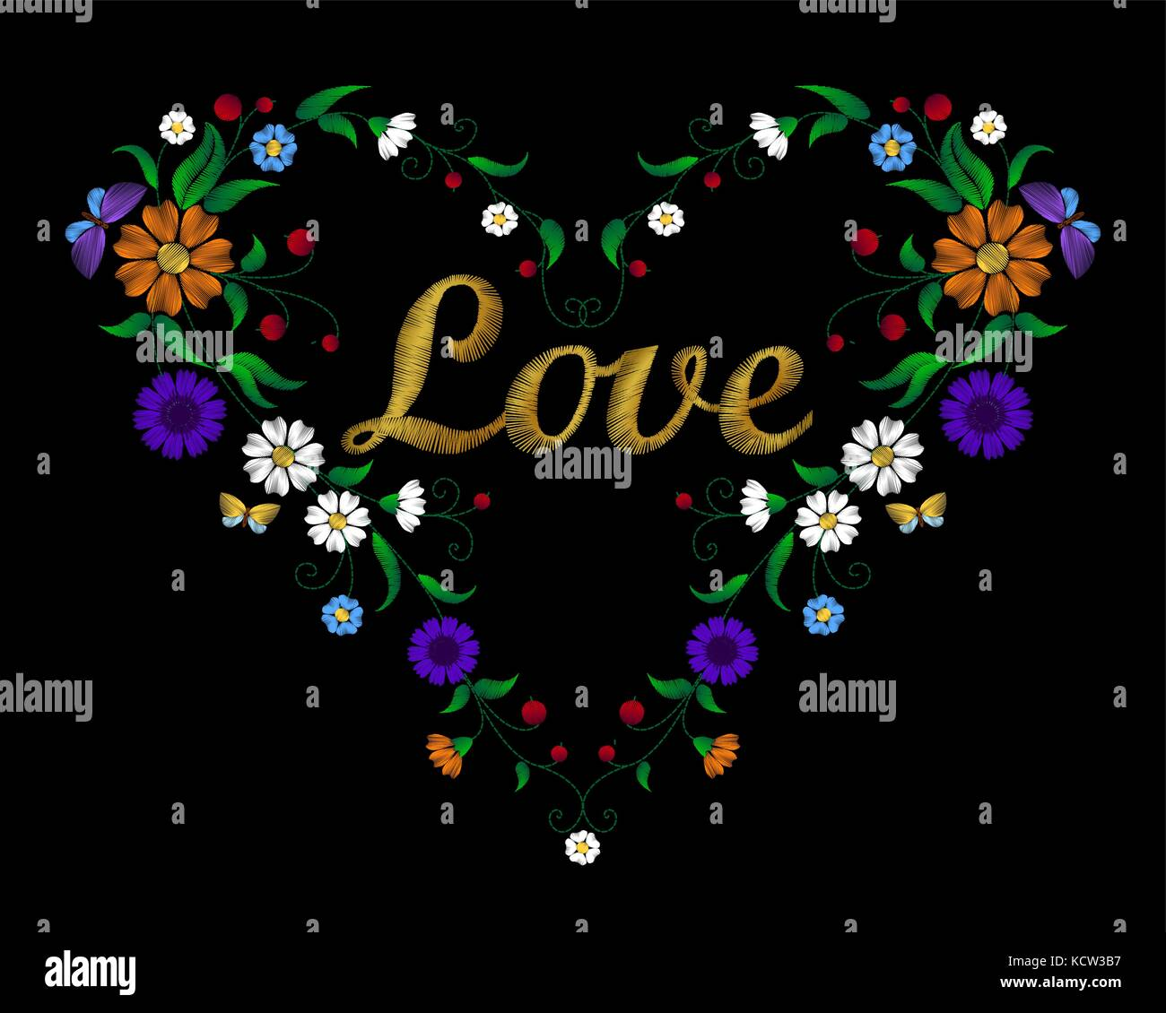 Embroidery Flower Heart With Lettering Word Love Golden Stiches Field Chamomille Berry Butterfly Traditional Ornament Decoration Rustic Cornflowers D