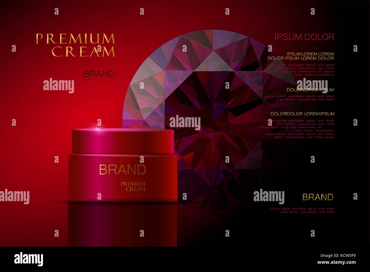3d realistic vector background cosmetic ads Premium Cream. red packaging for cosmetics. skin care. vector illustration - Stock Image