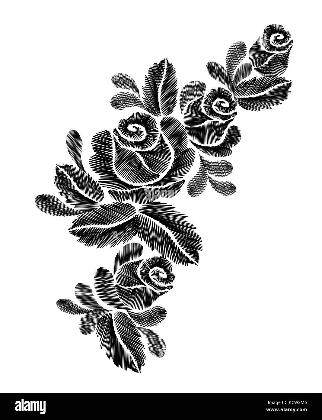 Black Roses Embroidery On White Background Ethnic Flowers Neck Line