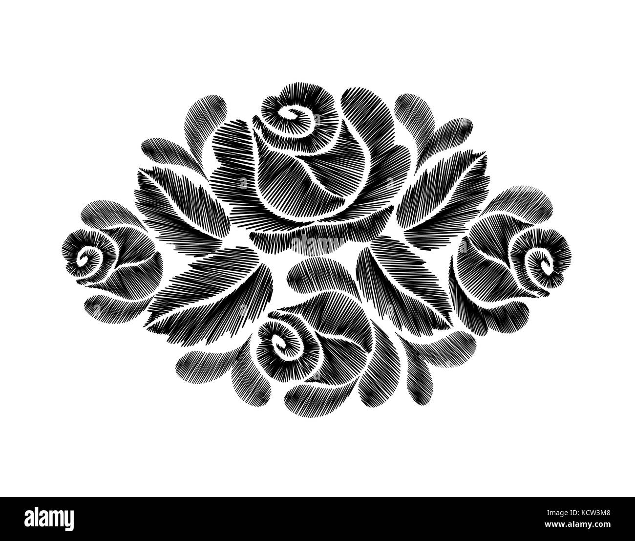 Black roses embroidery on white background ethnic flowers neck line black roses embroidery on white background ethnic flowers neck line flower design graphics fashion wearing vector mightylinksfo