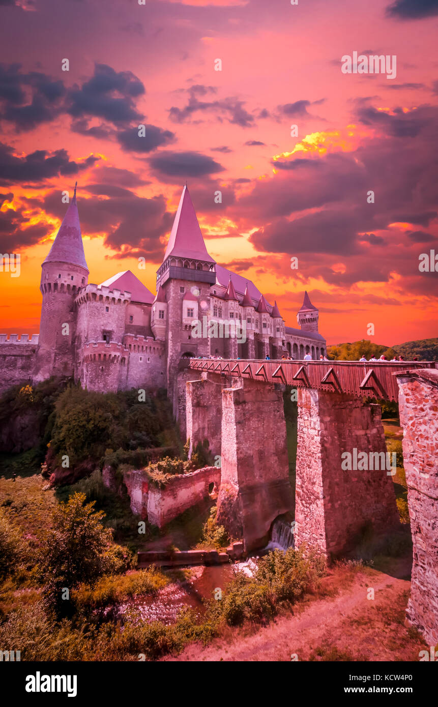 Castelul Huniazilor, Romania.. Hunyad Castle was laid out in 1446. - Stock Image