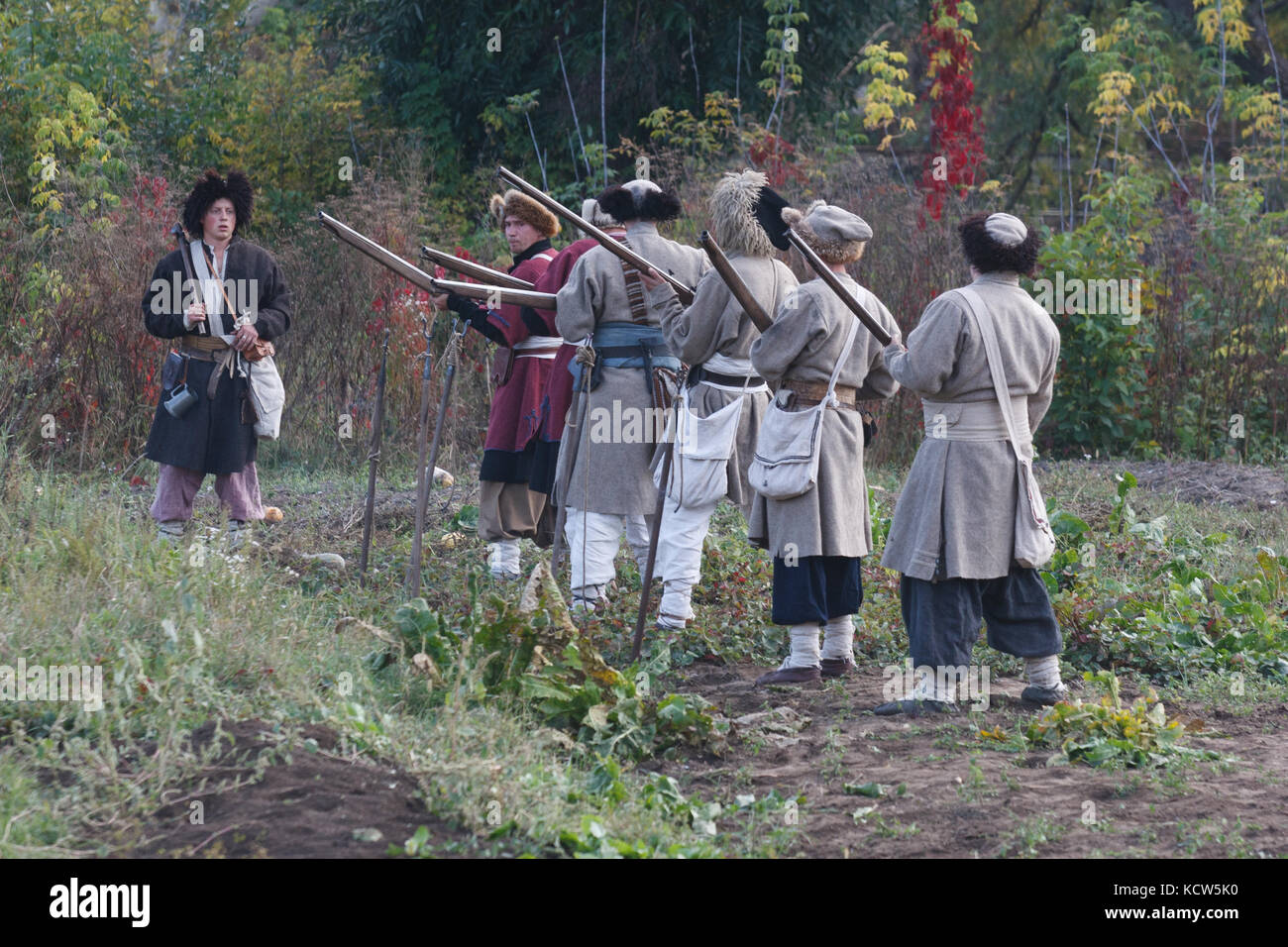 KAMYANETS-PODILSKY, UKRAINE - OCTOBER 3, 2009: Members of history club wear historical uniform 17 century during - Stock Image