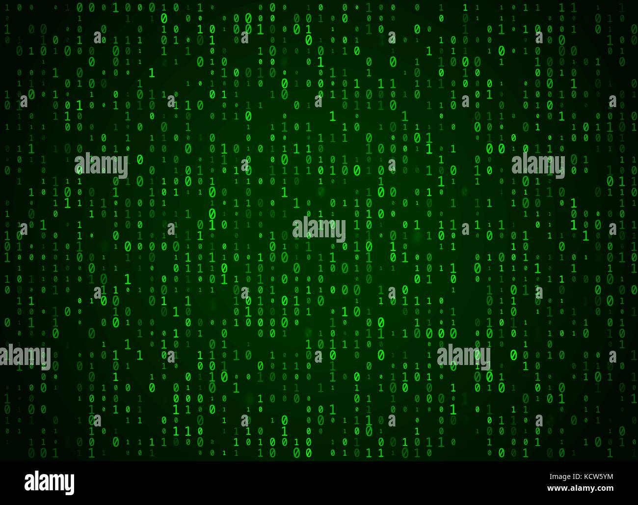 Vector binary code green background. Big data and programming hacking, deep decryption and encryption, computer - Stock Image