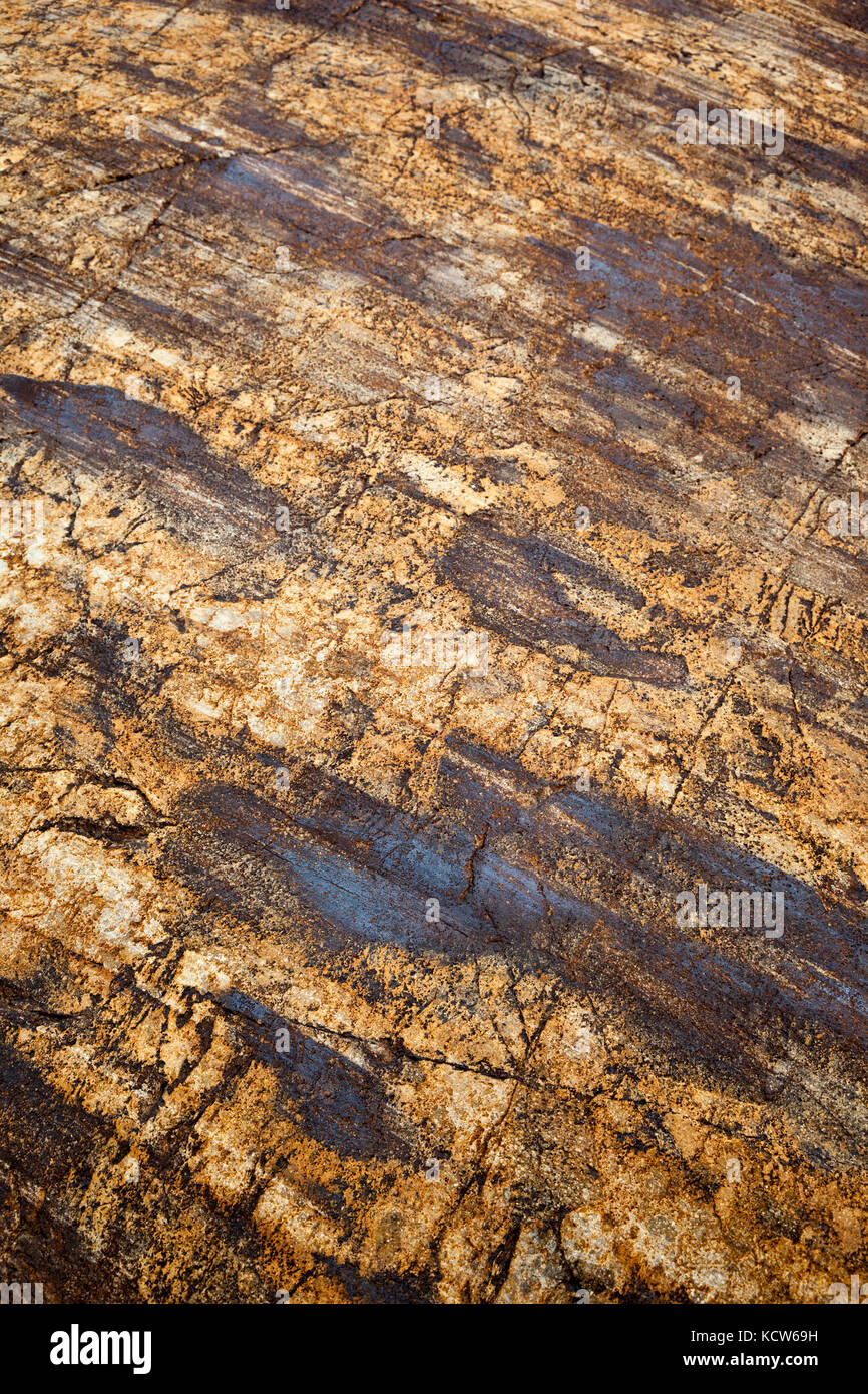 Striated rocks on the Viedma Glacier, Southern Patagonian Ice Field, Los Glaciares National Park, Argentina - Stock Image