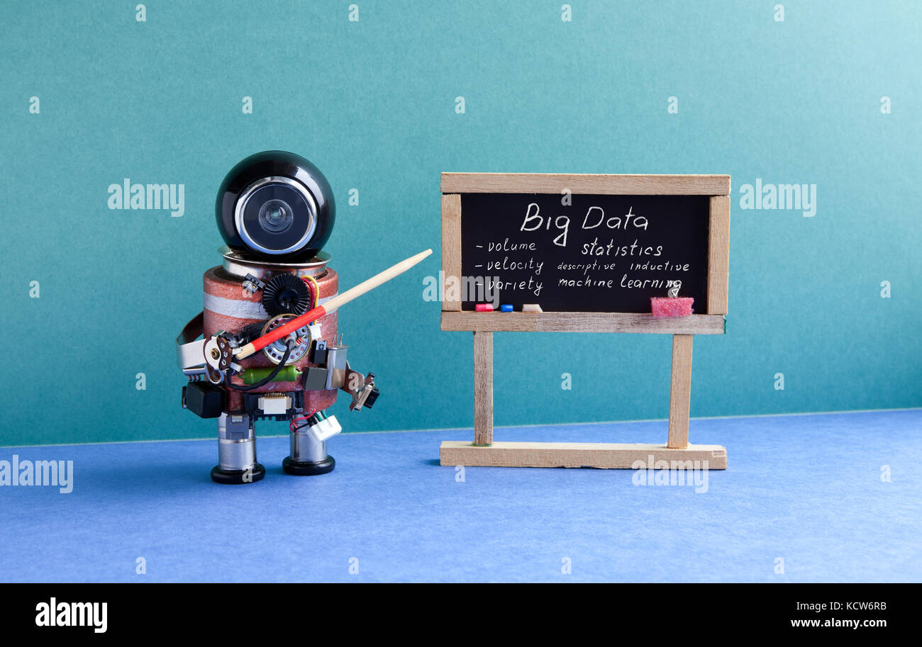 Big data machine learning concept. Futuric robot professor explains modern theory. Teacher with a pointer near chalkboard, - Stock Image