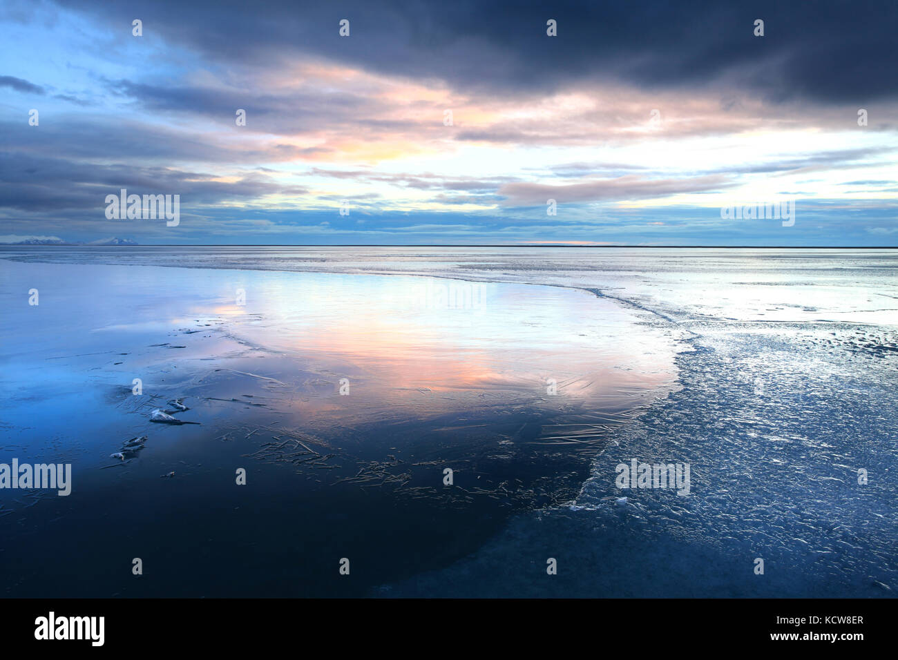 Ice shapes in the east fjords iceland at sunset in winter - Stock Image