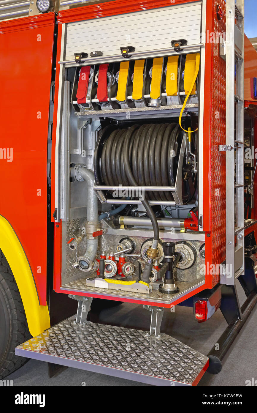 Fire Pump Electrical Wiring Hoses Stock Photos Images Alamy Engine With Water And Valves Image
