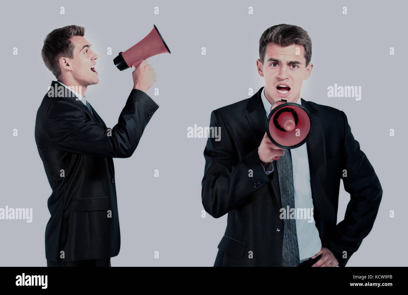 business man screaming loudly in a megaphone - Stock Image