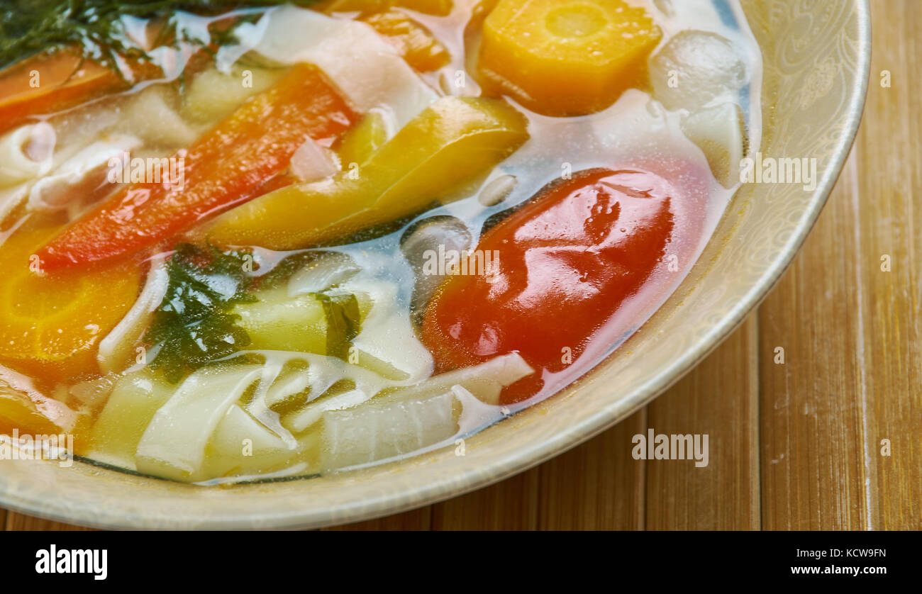 Romanian vegetable soup stock photos romanian vegetable soup stock supa taraneasca romanian vegetable soup with noodles stock image forumfinder Gallery