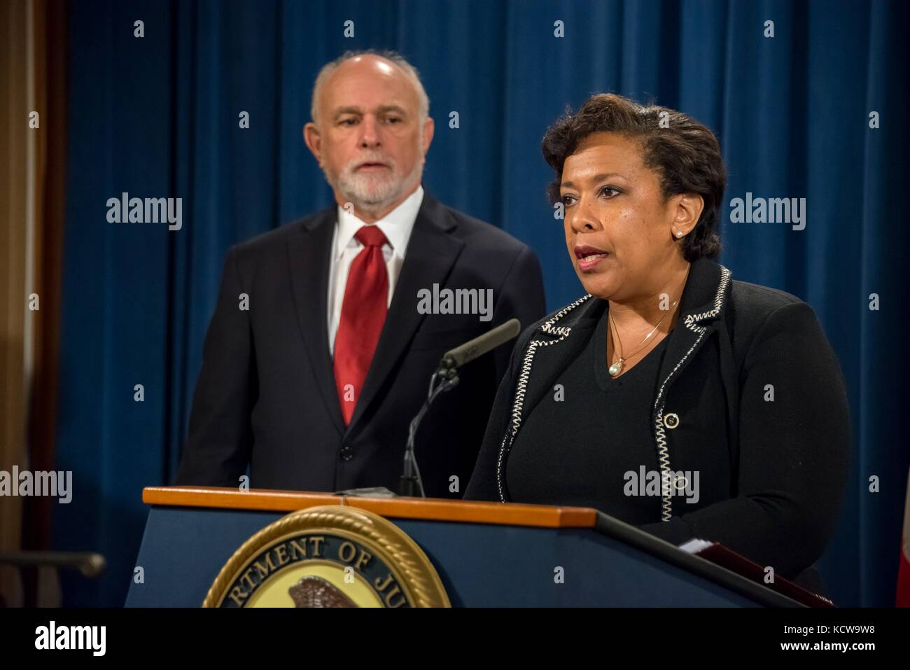 U.S Attorney General Loretta Lynch during a press conference with Principal Deputy Associate Attorney General Bill - Stock Image