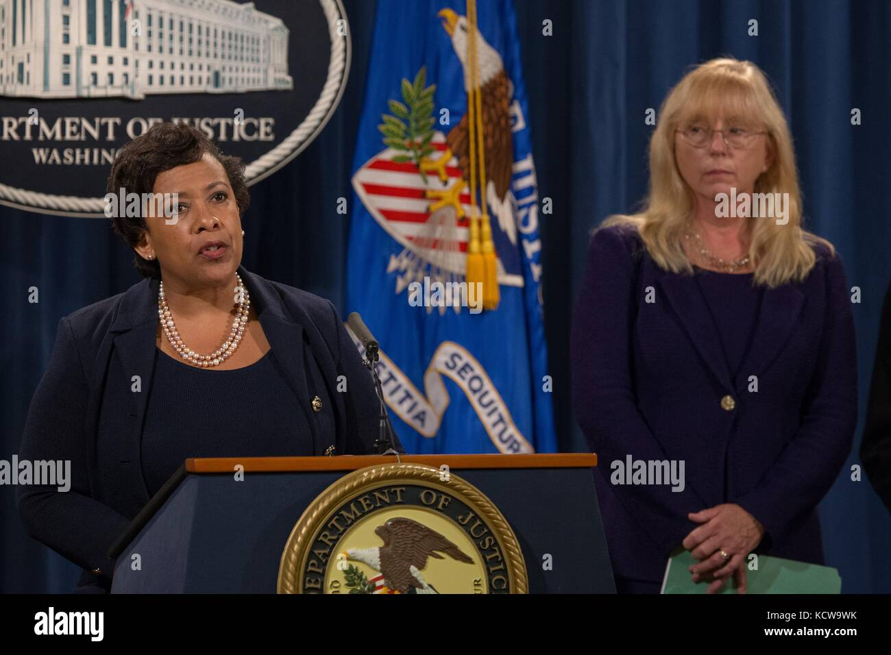 U.S Attorney General Loretta Lynch announces civil forfeiture complaints seeking to recover more than $1 billion - Stock Image