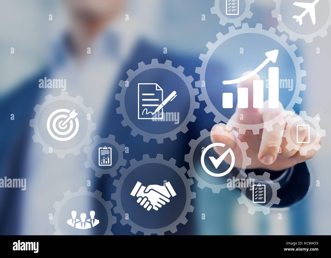 Business process management and automation concept with icons of hiring workflow, document validation, information - Stock Image