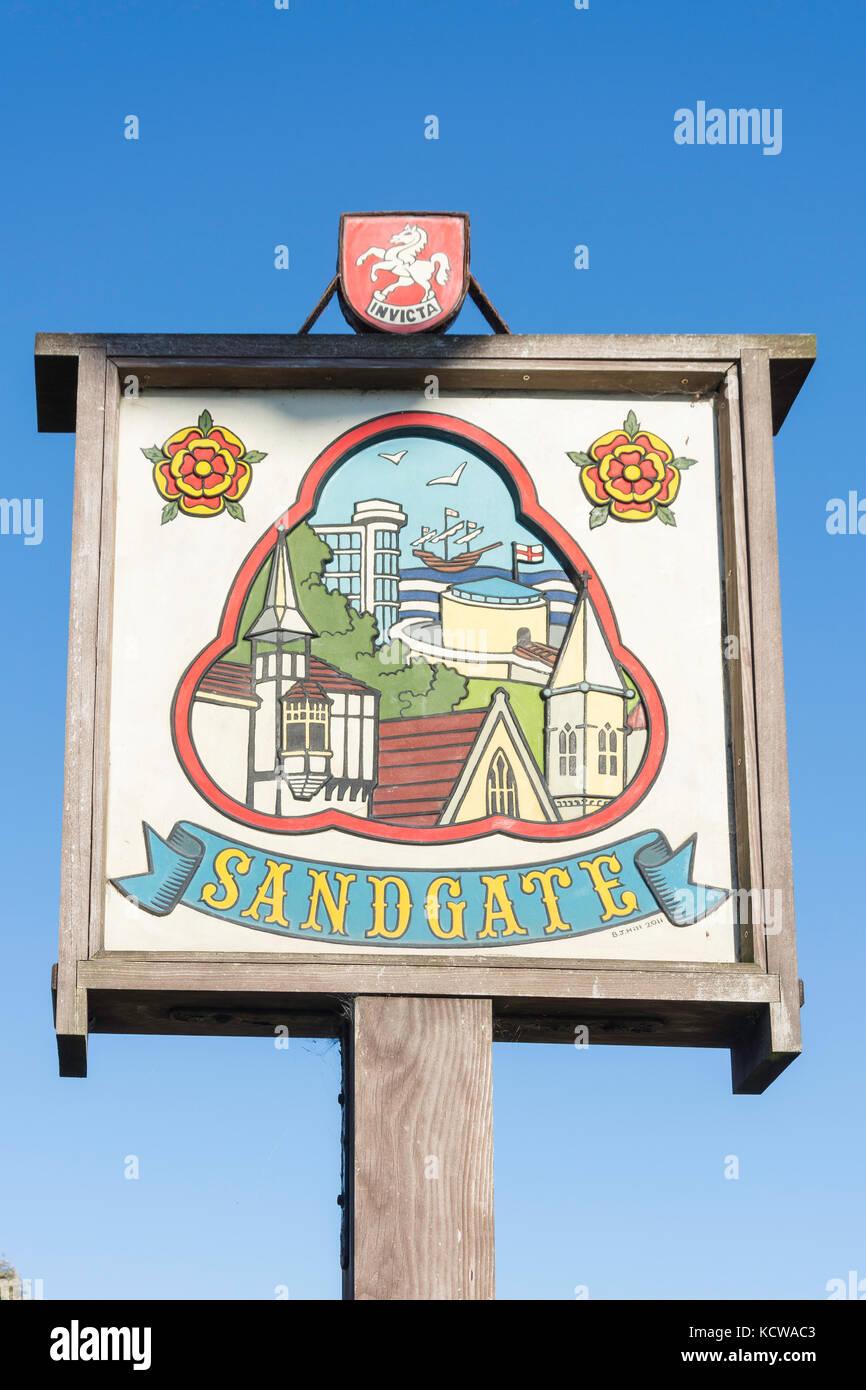 Wooden village sign, High Street, Sandgate, Kent, England, United Kingdom - Stock Image
