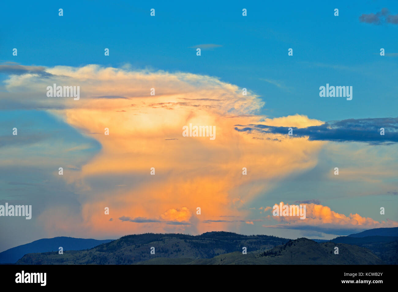 Stormy clouds at sunset, Cache Creek, British Columbia, Canada - Stock Image