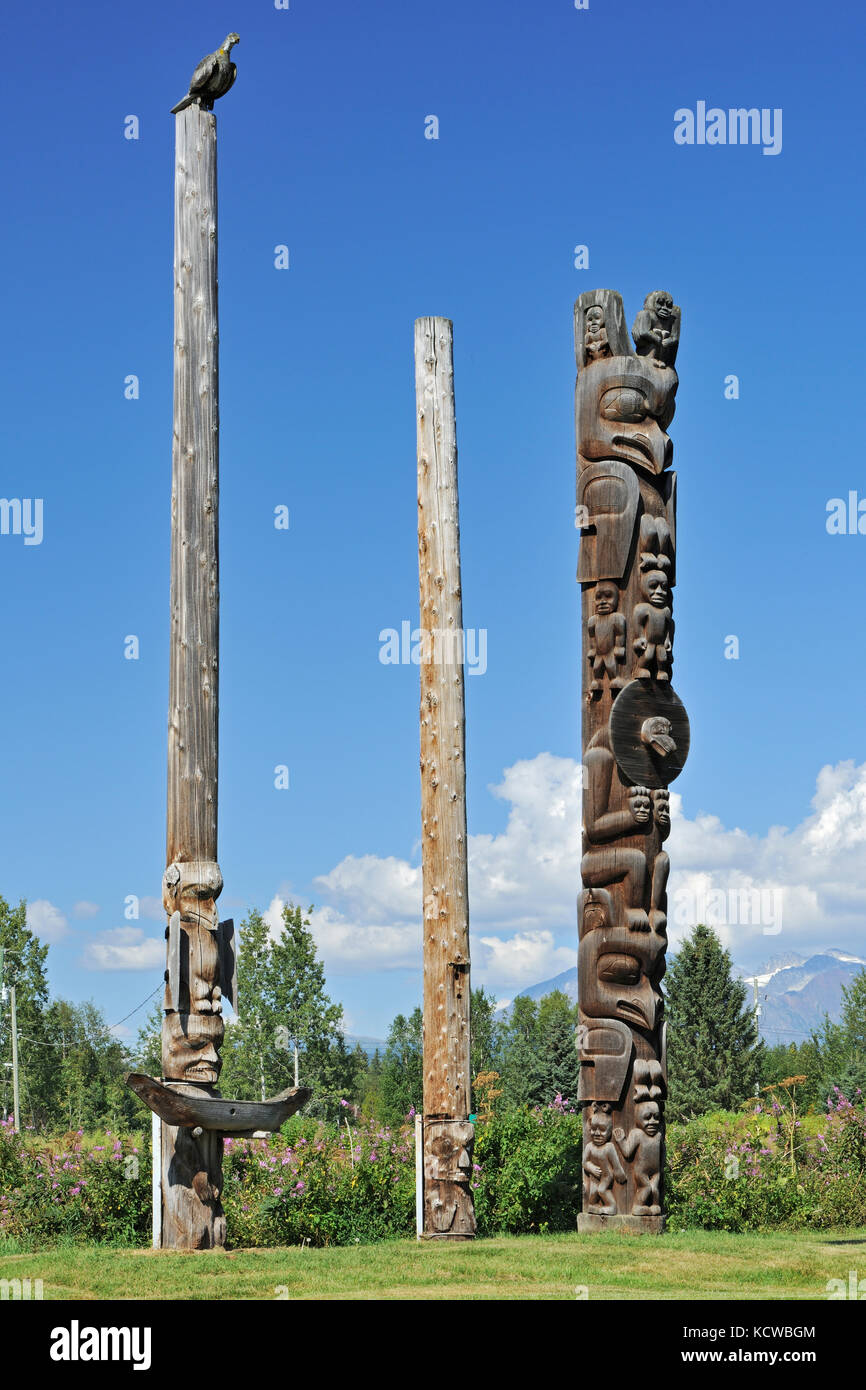 Kispiox Totem Poles. Gitxsan village. Northwest Coast First Nations. Kispiox Valley. , Kispiox, British Columbia, - Stock Image
