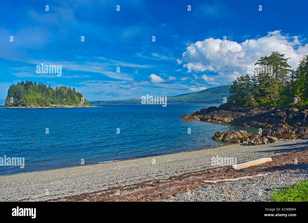 Pacific Ocean. Skidegate. Graham Island. , Haida Gwaii (formerly the Queen Charlotte Islands), British Columbia, - Stock Image