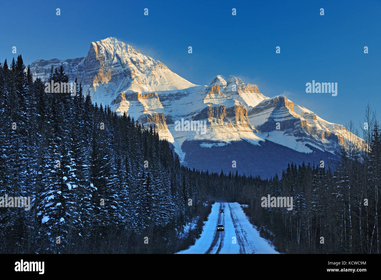 The Icefields Parkway  in the Canadian Rocky Mountains in evening light, Banff National Park, Alberta, Canada - Stock Image
