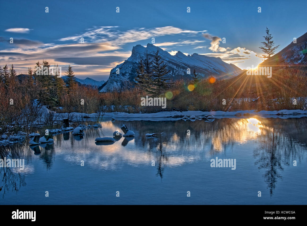 Mount Rundle and the Vermillion Lakes at sunrise, Banff National Park, Alberta, Canada - Stock Image