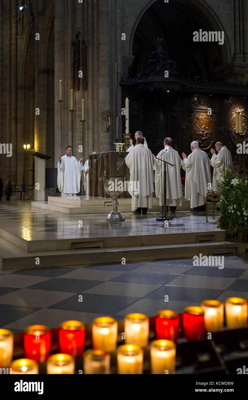 Ceremony Inside the Notre-Dame de Paris, France, Europe - Stock Image