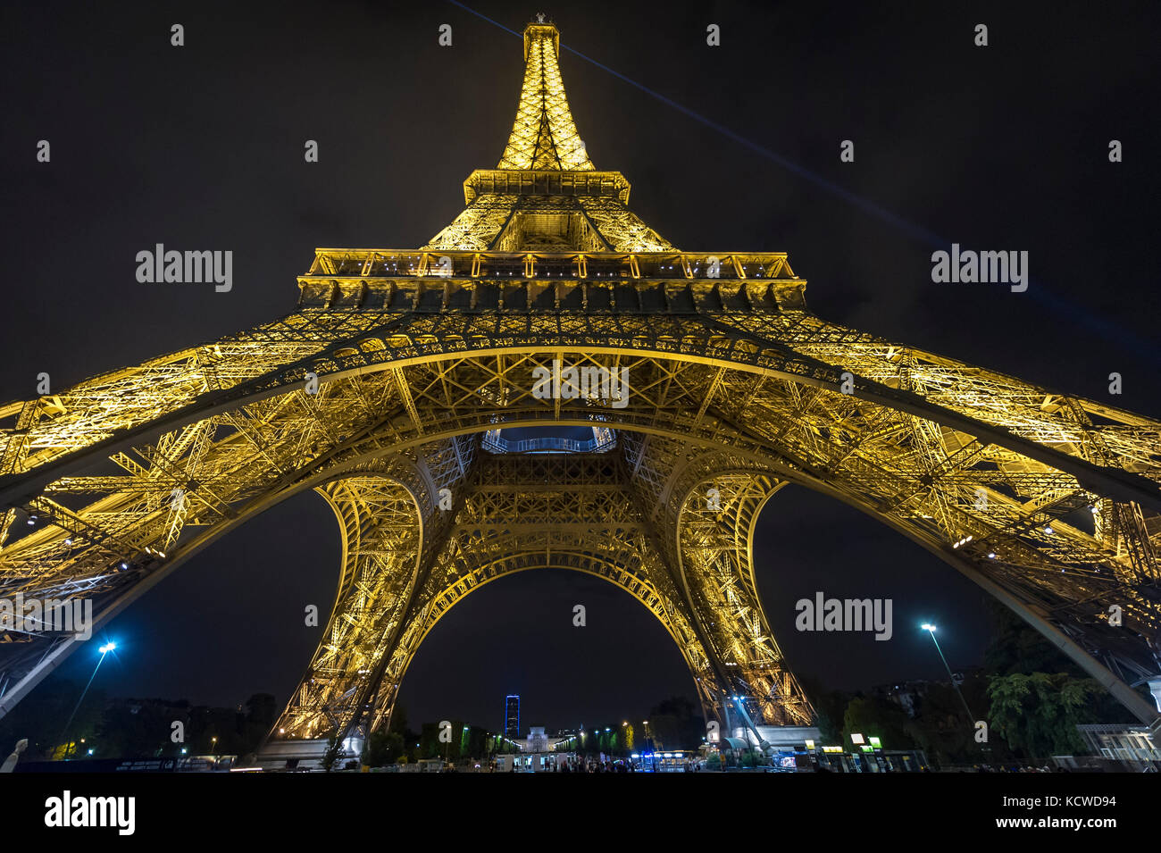 View of the Eiffel Tower from below, Paris, France, Europe - Stock Image