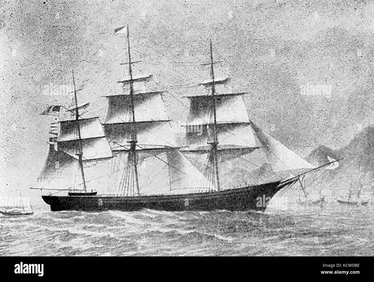 The 1062 ton US ship DERBY built in Chelsea USA in 1855 - Stock Image