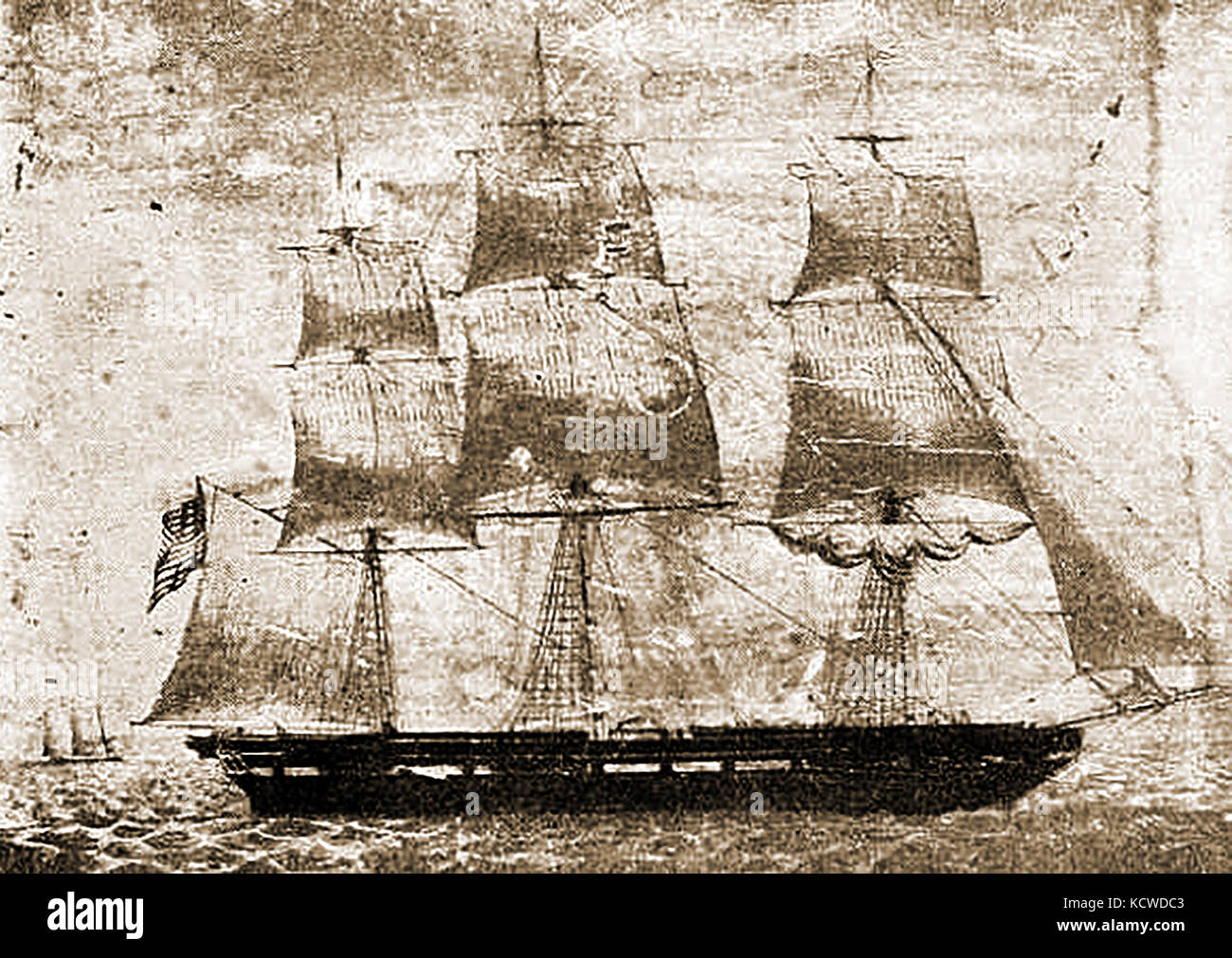 The BOSTONIAN a 1099 ton US ship built at  Boston in 1854 by  Donald McKay - Stock Image
