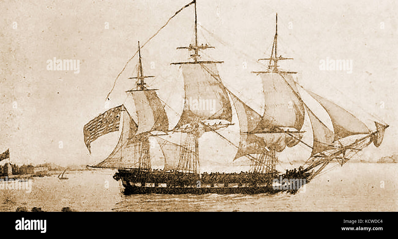 The French built 654  tons ship AMERICA (3rd) of Salem, USA - Stock Image