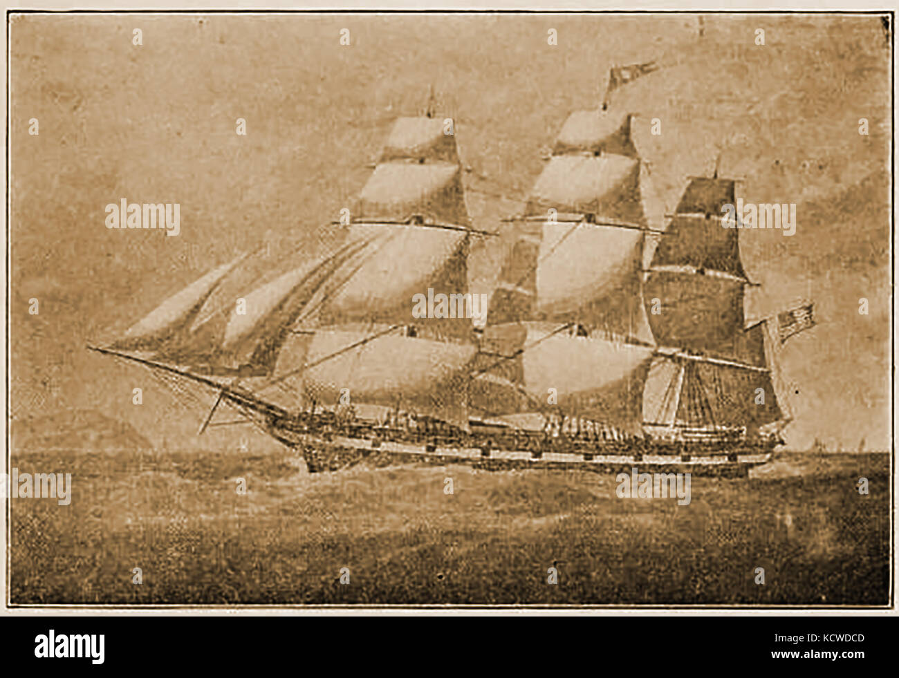 The Victorian American sailing Ship ALBUS  - Captain was Michael B Gregory of Marblehead - Stock Image