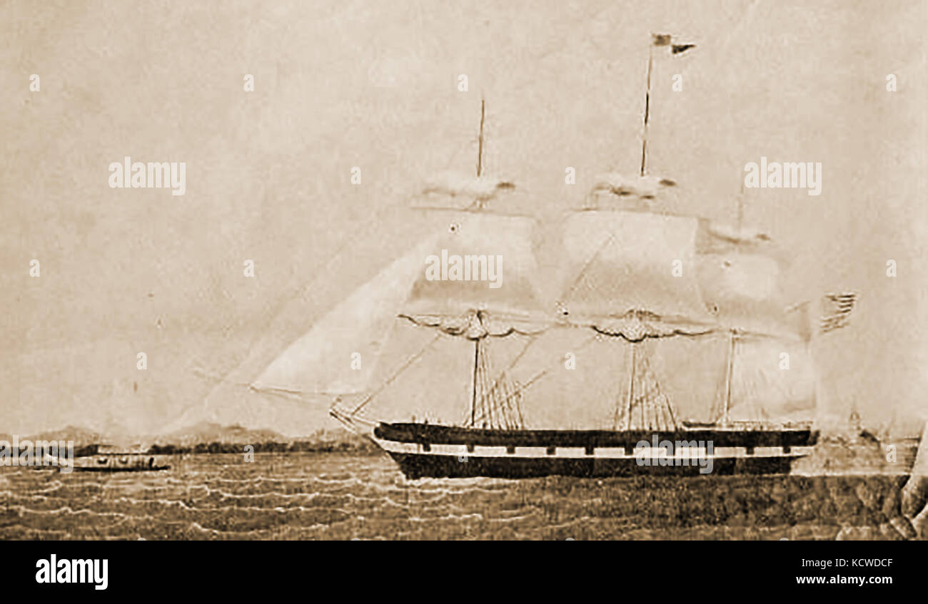 The ship ANN MARIA Built 1843 at Essex, Massachusetts and owned by David Pingree and Charles Millett - Stock Image