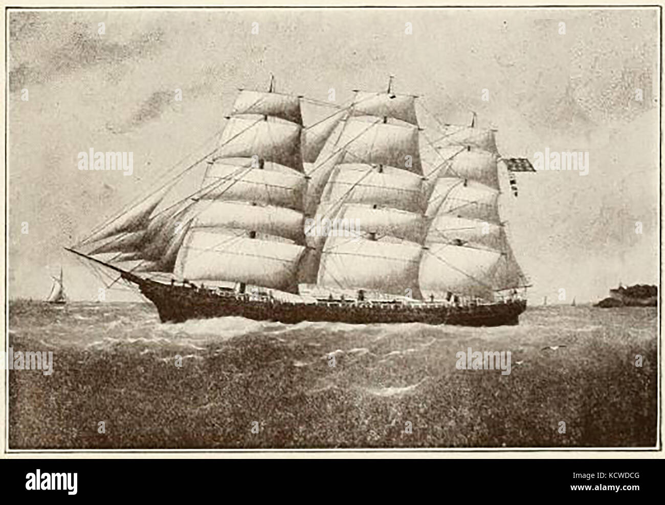 The 1687 ton , triple decked US ship DANIEL I. TENNEY - Built Newburyport 1875 - Stock Image