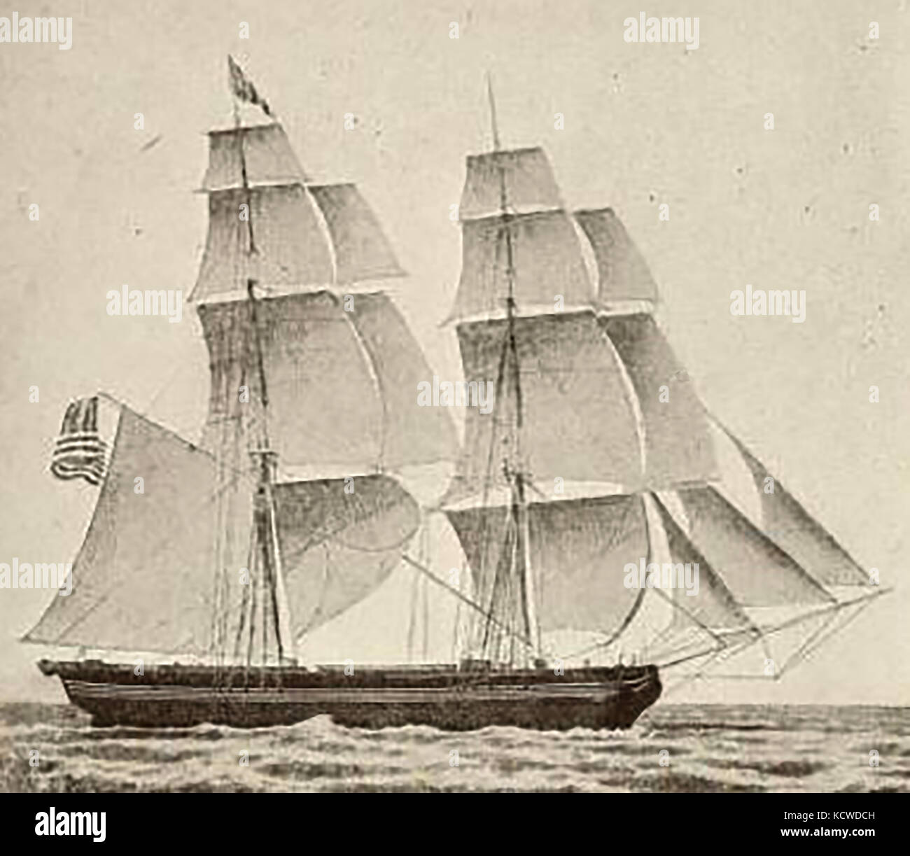 The Boston (USA) ship CZARINA c1835 - Stock Image