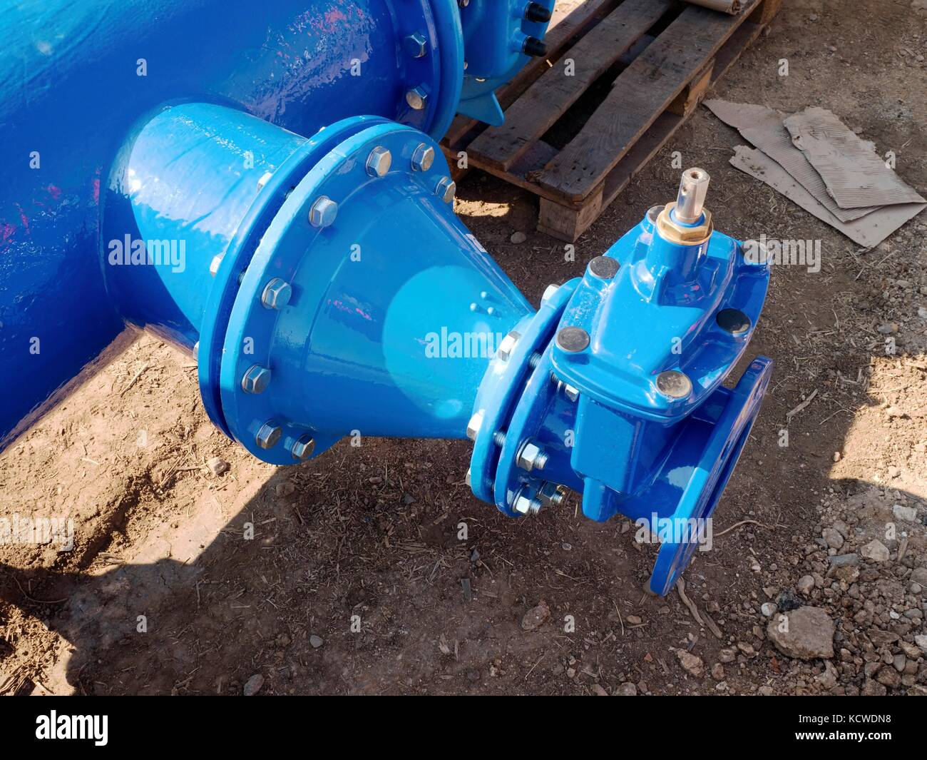 500mm piping with new Gate valves and reduction member to 250mm and 150mm. Pipe fittings joint with new screws and - Stock Image