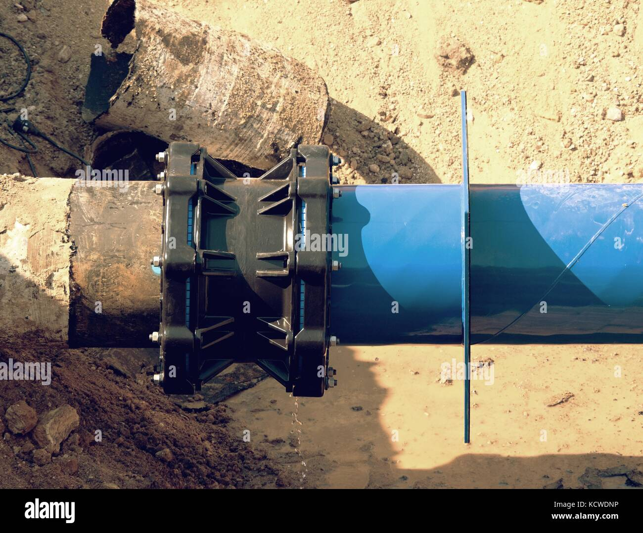 Main drink water piping with 500mm waga multi joint member. Repairing of  water supply interruption. Drink water - Stock Image