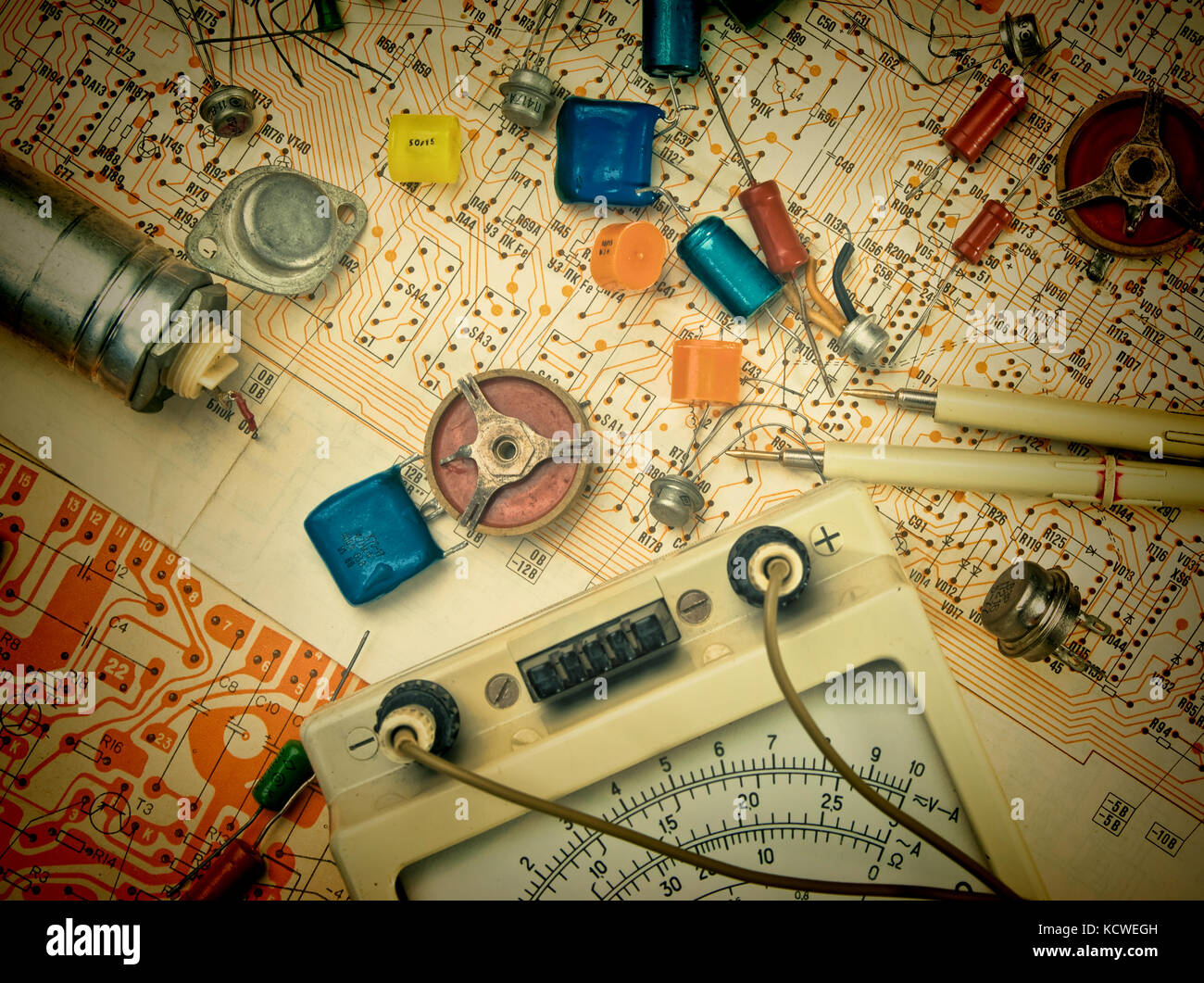 Wiring Diagram Stock Photos Images Alamy Electron Tube Industrial Old Electronic Components Lie On The Image