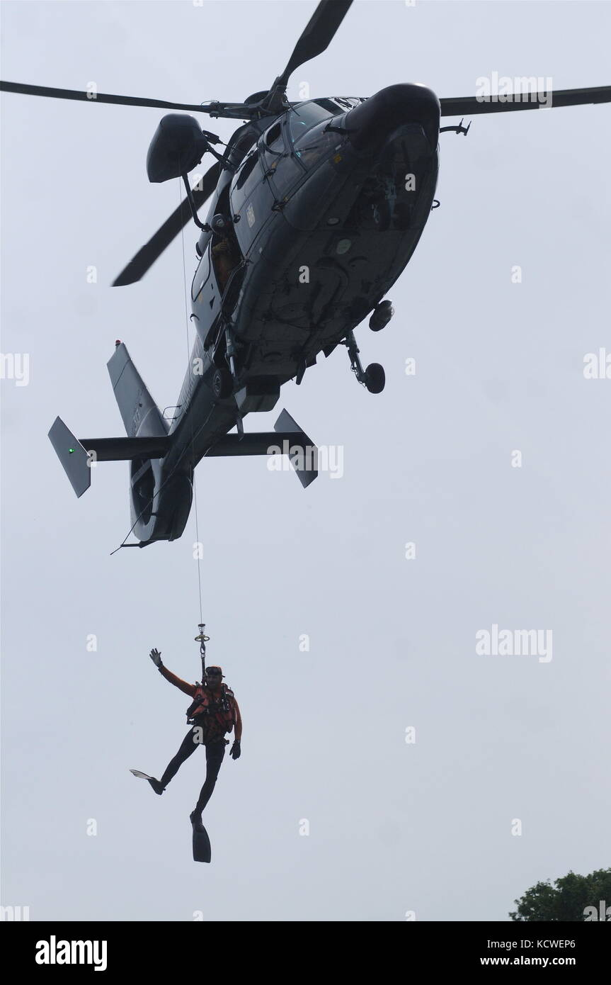 """French Navy helicopere """"Dolphin"""" and Navy divers take part in a public show, Lyon, France Stock Photo"""