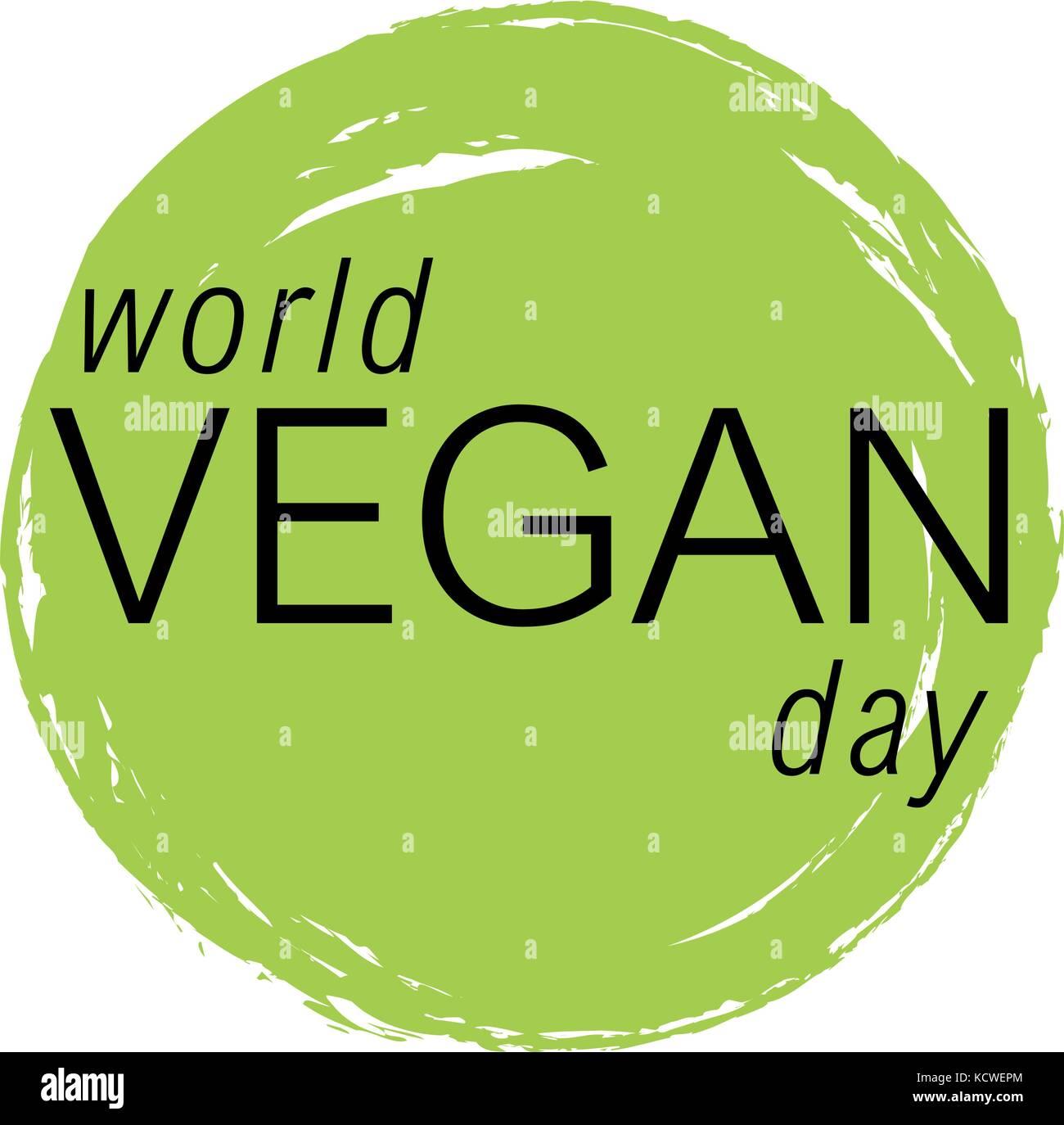 Vegan day vector colorfull illustration. - Stock Image