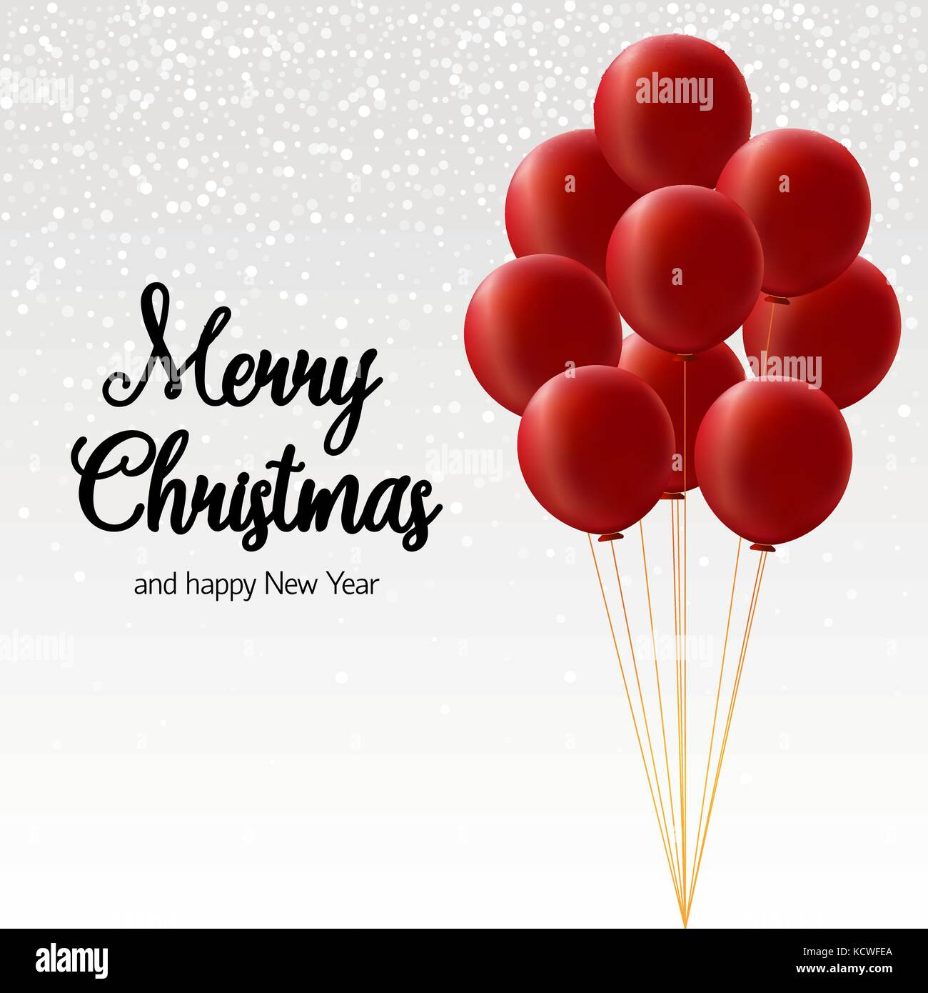 Merry Christmas Card Bundle Of Big Red Balloons On White Background