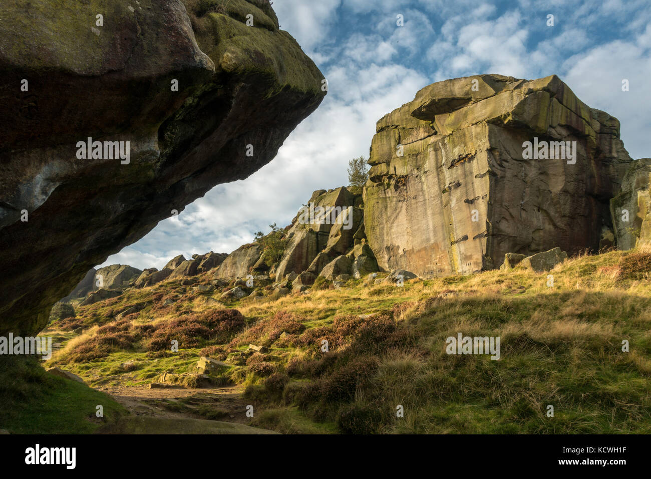 Unusual view of the famous landmark of the Cow and Calf Rocks, Ilkley Moor, Yorkshire - Stock Image