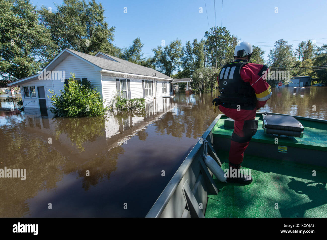 The Flooded town of Nichols S.C., heavy rains caused by Hurricane Matthew flooded the town which caused the evacuation - Stock Image