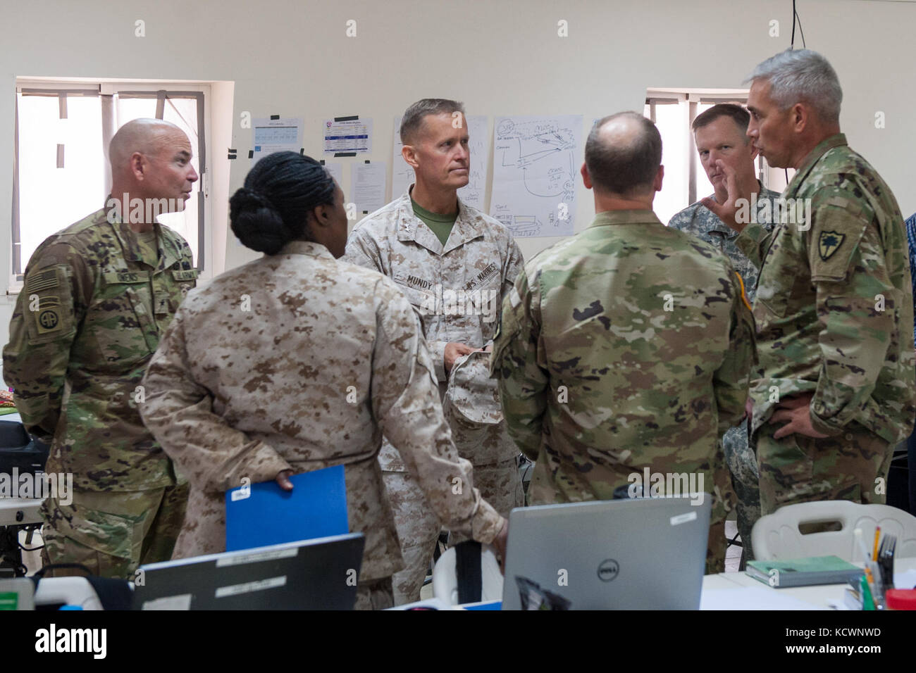U.S. Army Lt. Col. Jamie Fowler, South Carolina Army National Guard, 122nd Engineer Battalion commander, discusses Stock Photo