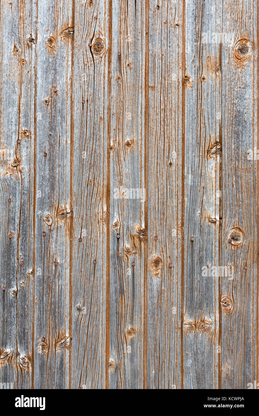 SAINT-LEONARD-DE-NOBLAT, FRANCE - 22 JULY, 2017: Detail of old, weathered and distressed wooden planks. - Stock Image