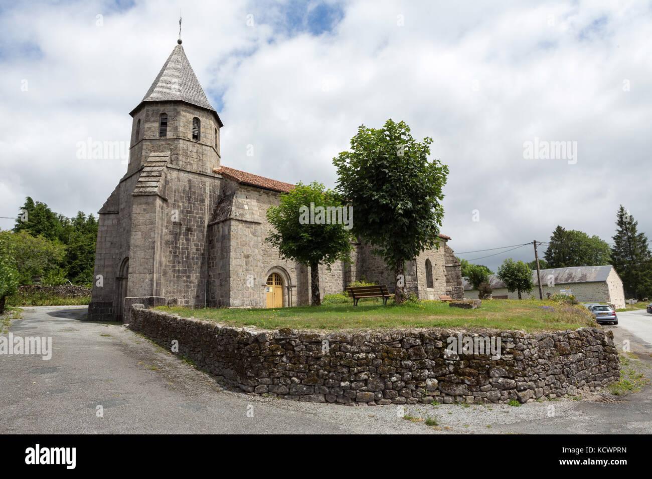 SAINT-GOUSSAUD, FRANCE - JULY 23, 2017: The church of Saint-Goussaud on the Camino De Santiago, the Way of St. James - Stock Image