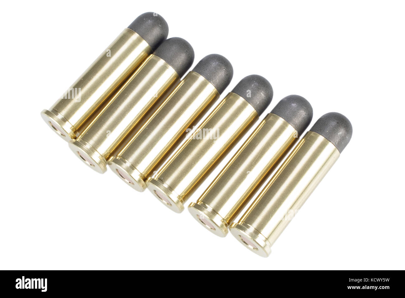 The .38 Special handgun cartridge isolated on white - Stock Image