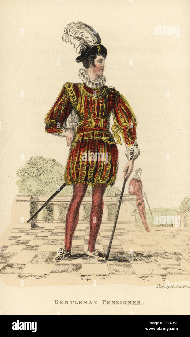 Gentleman Pensioner, a corps of 40 royal guardsmen at court. In a uniform of doublet, ruff and hose adopted by King - Stock Image