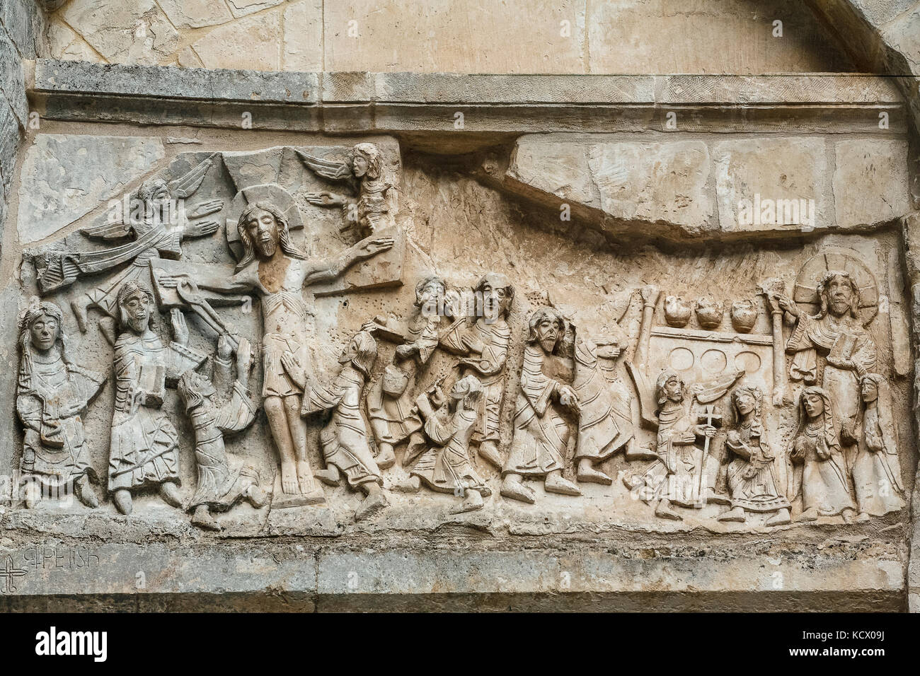Italy Apulia Monte Sant'Angelo: Entrance to the Tomb of Rotari: portal with lintel decorated with reliefs (pictured - Stock Image