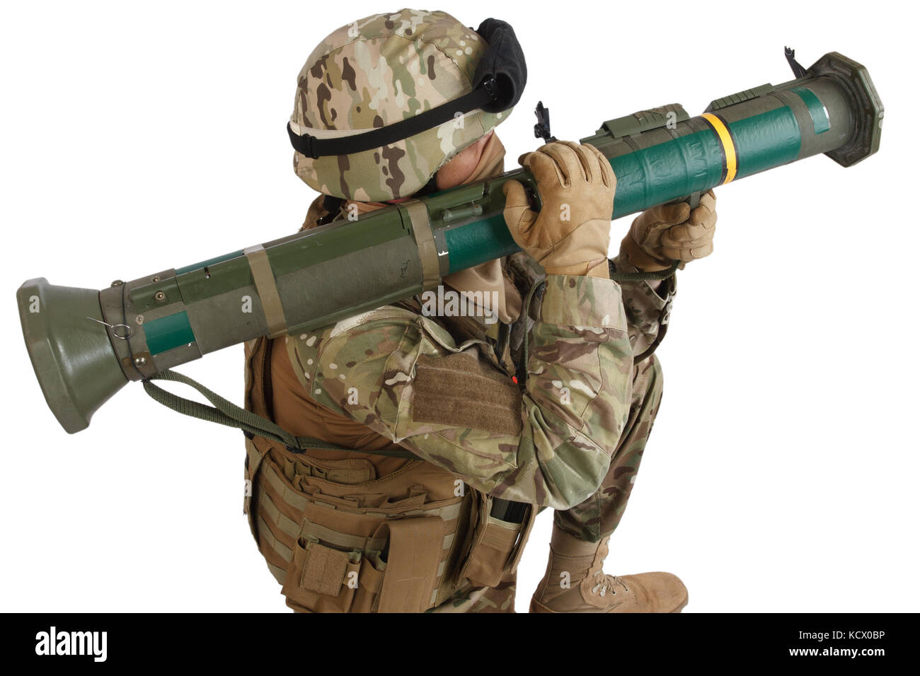 US ARMY soldier with recoilless rocket launcher isolated on white - Stock Image