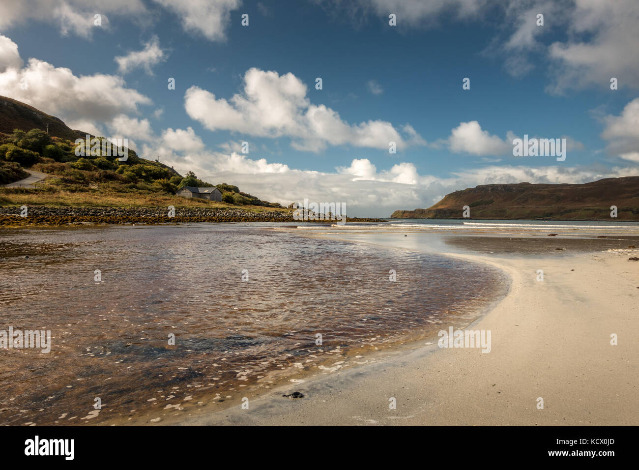 One of the few sandy beaches on Mull - Calgary Bay beach, Isle of Mull, Scotland Stock Photo