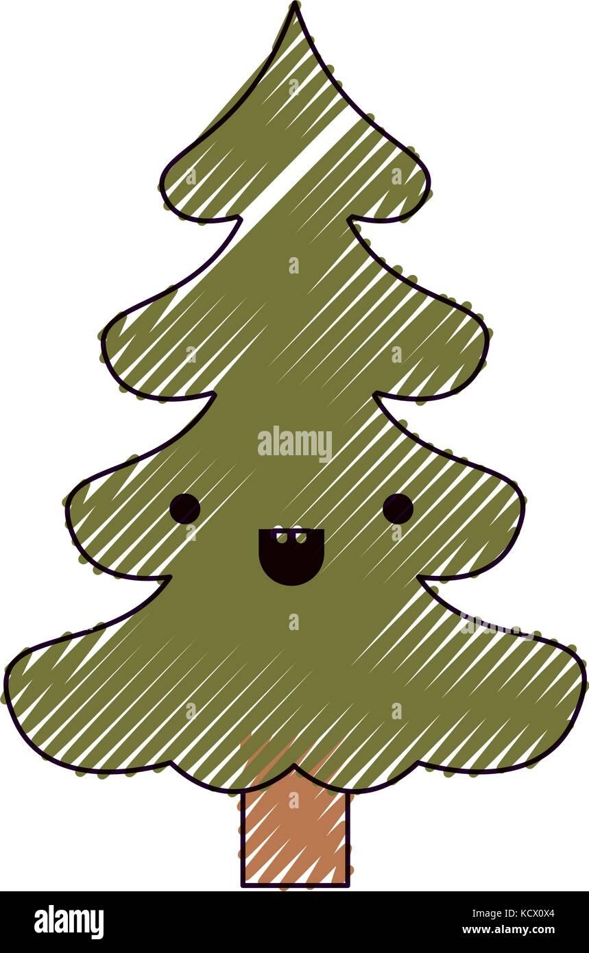 Adorable Cartoon Christmas Kawaii Tree Stock Photos & Adorable ...