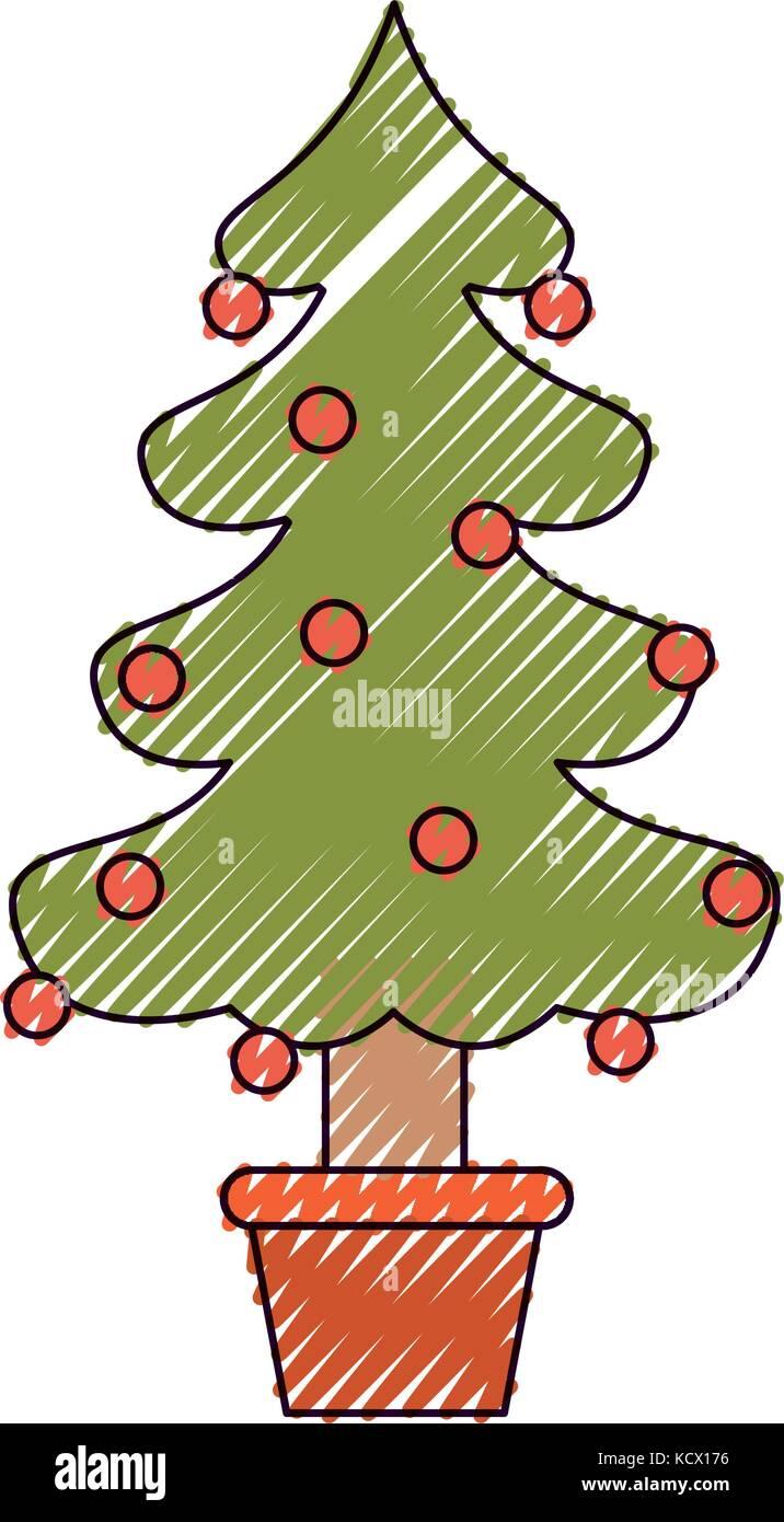 Crayon Christmas Tree Vector Stock Photos & Crayon Christmas Tree ...